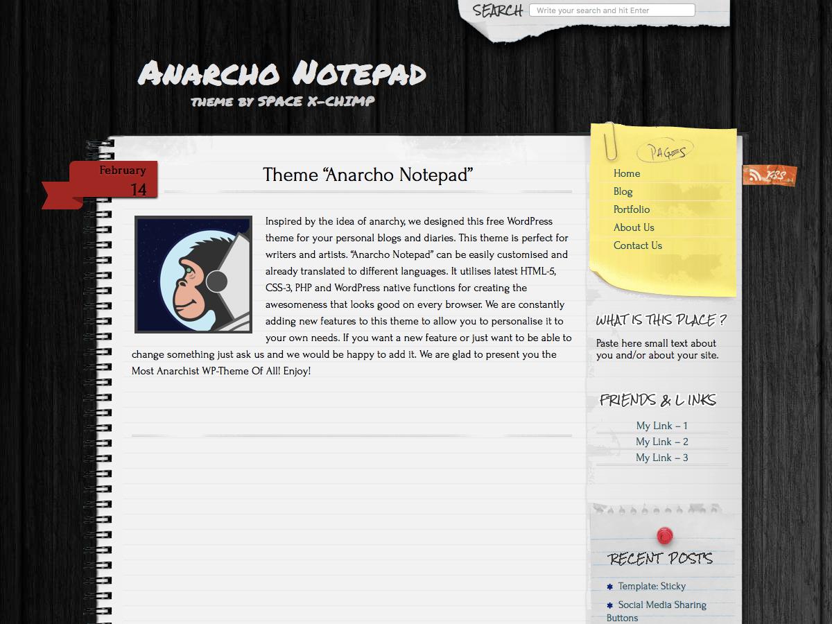 Anarcho Notepad - тема в стиле блокнота
