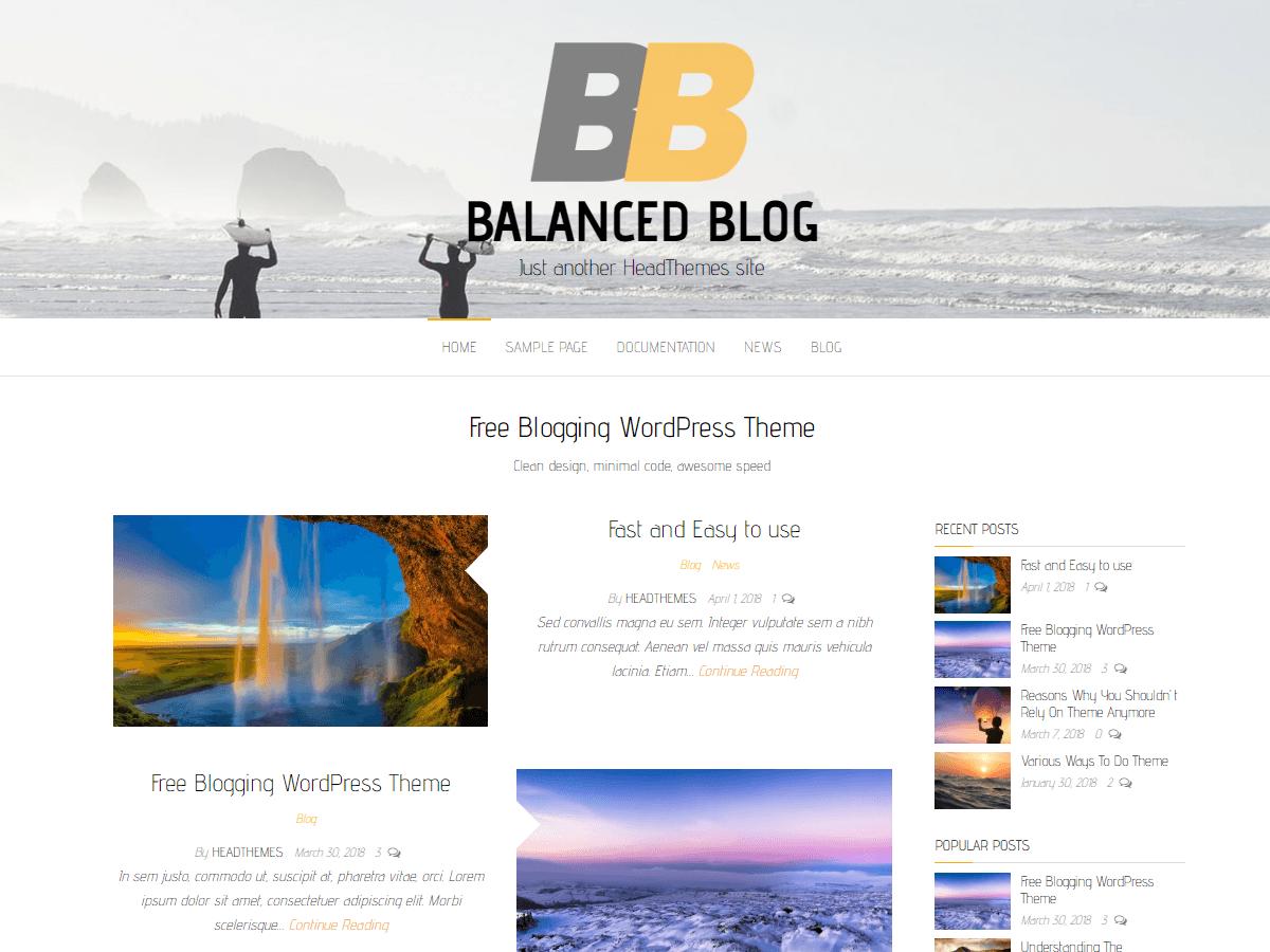 Balanced Blog - блоговый шаблон ВП