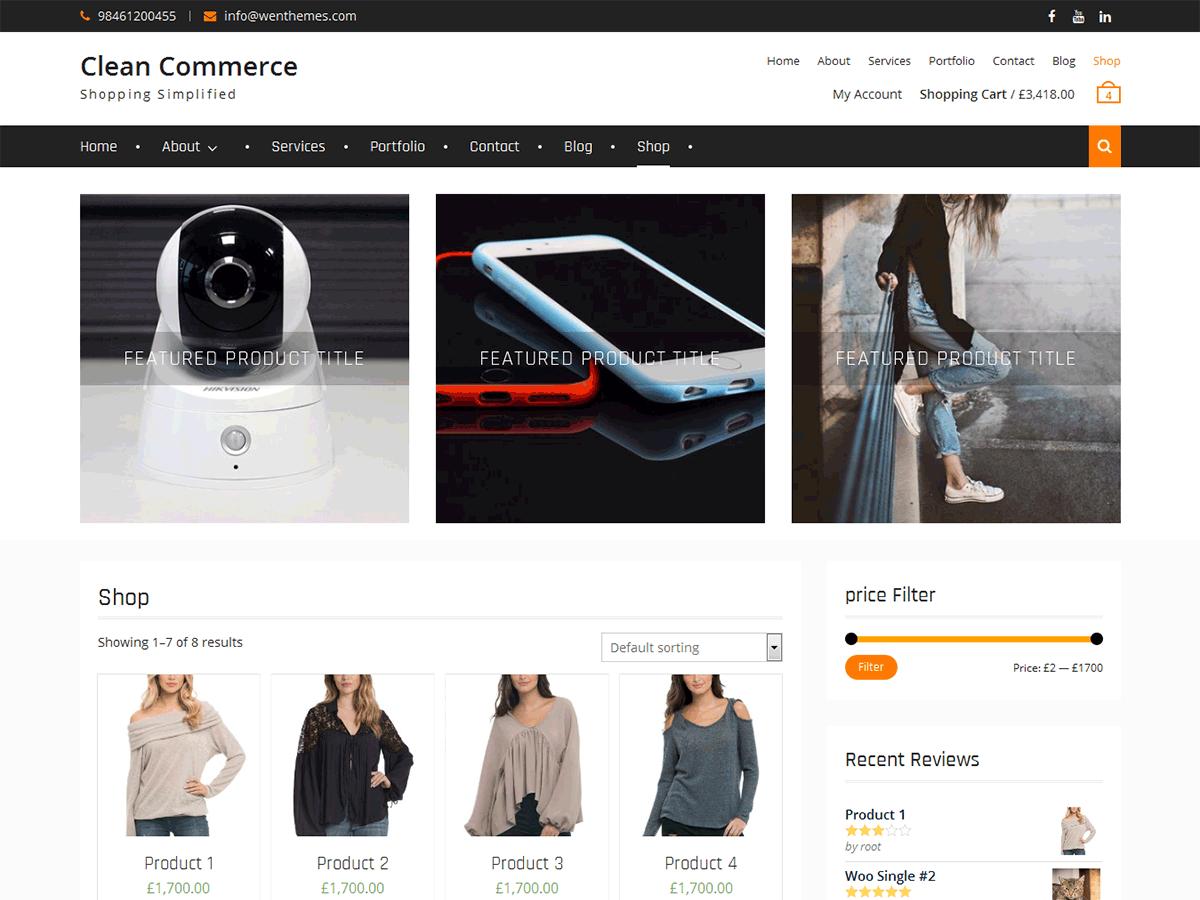 Clean Commerce - тема для интернет-магазина WordPress