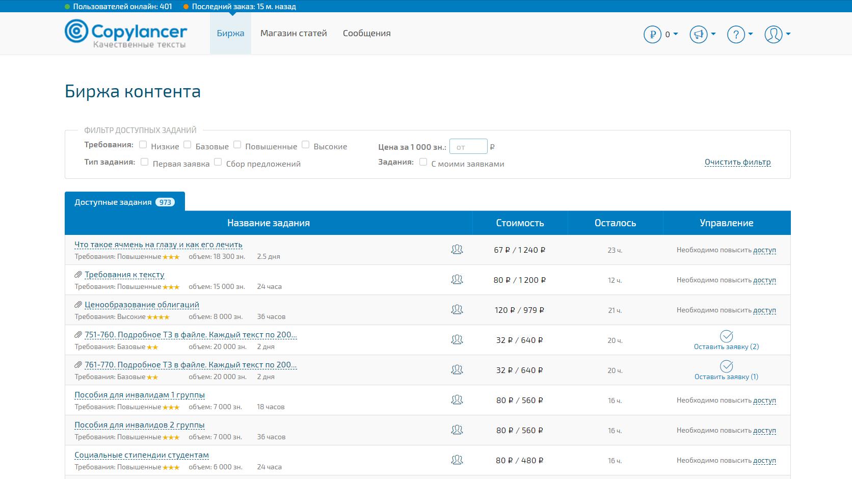 Copylancer - биржа копирайтинга для новичков