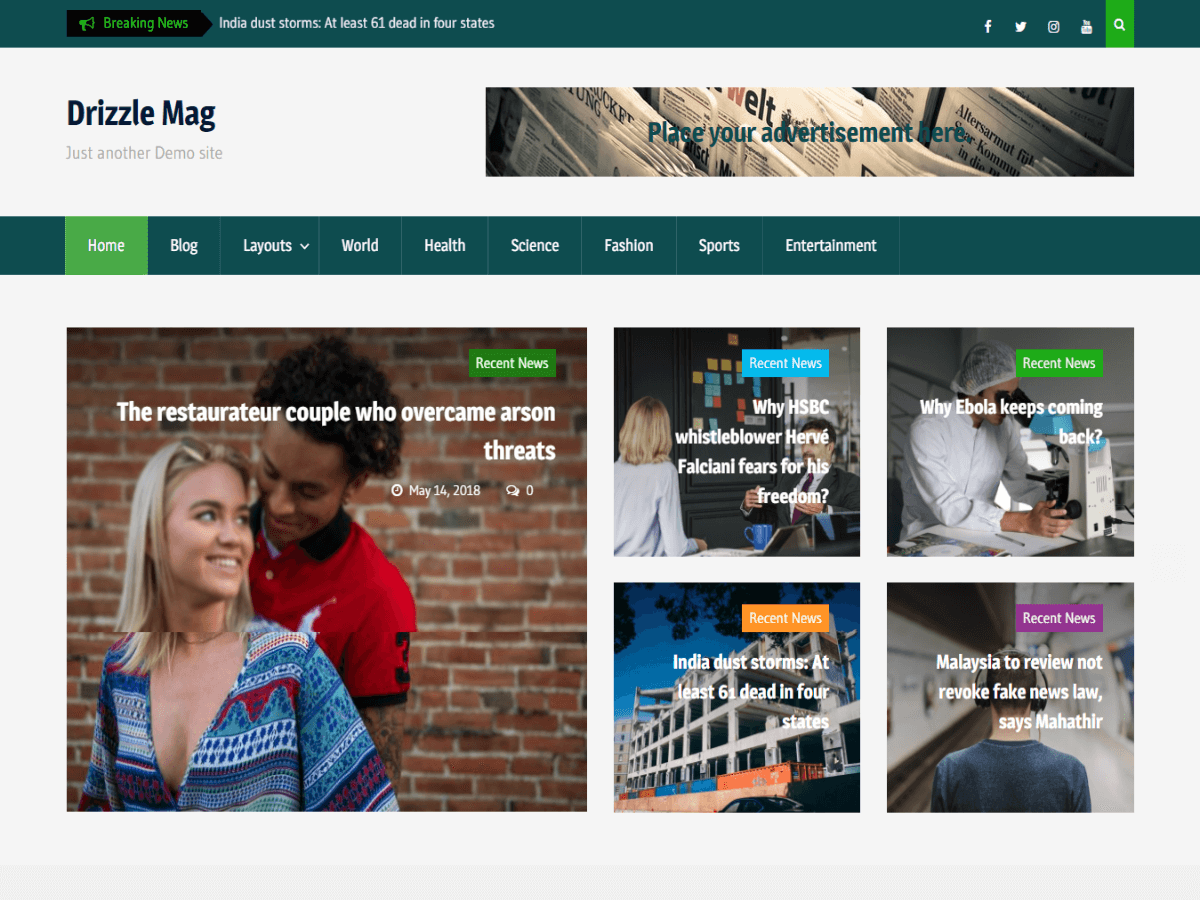 Drizzle Mag - журнальная тема WordPress