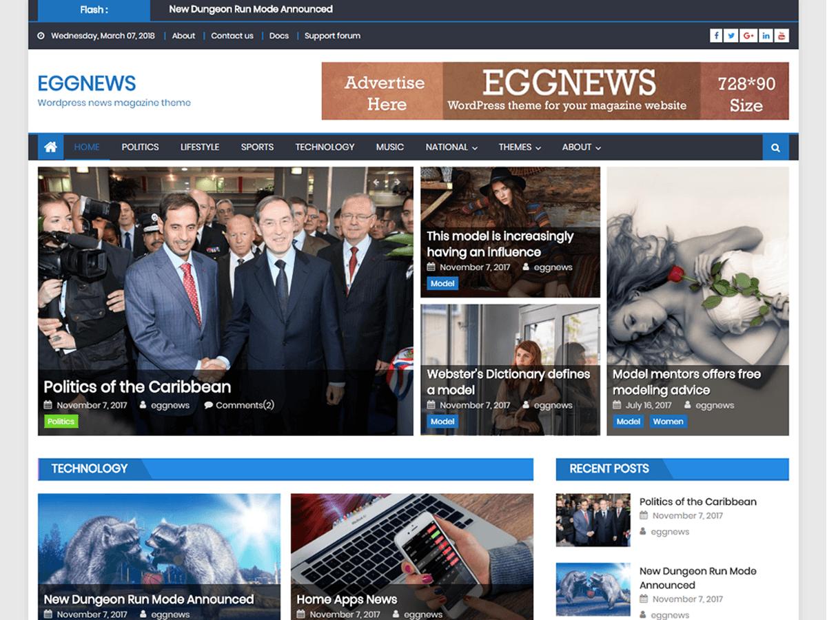 Eggnews - новостной шаблон для сайта