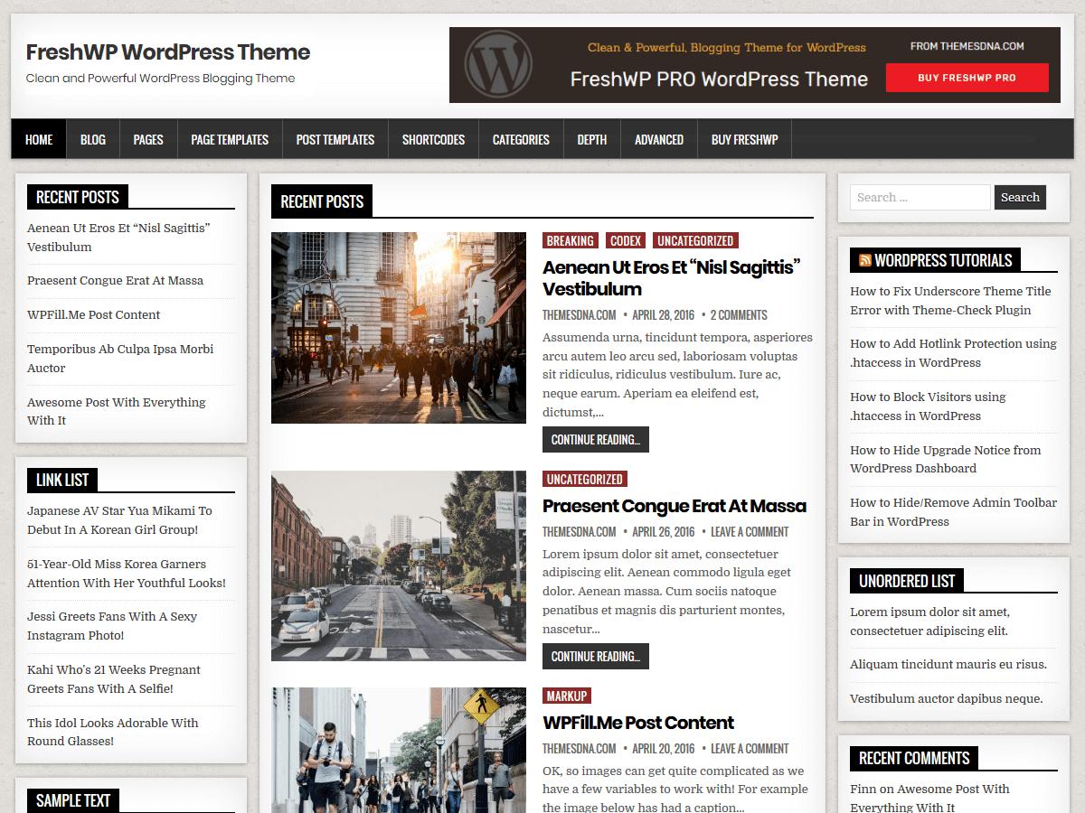 FreshWP - журнальная тема WordPress