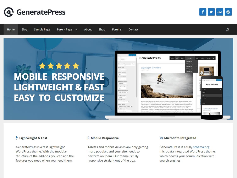 GeneratePress - бесплатная SEO-тема для ВП