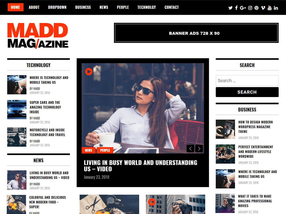 Madd Magazine - шаблон в стиле magazine