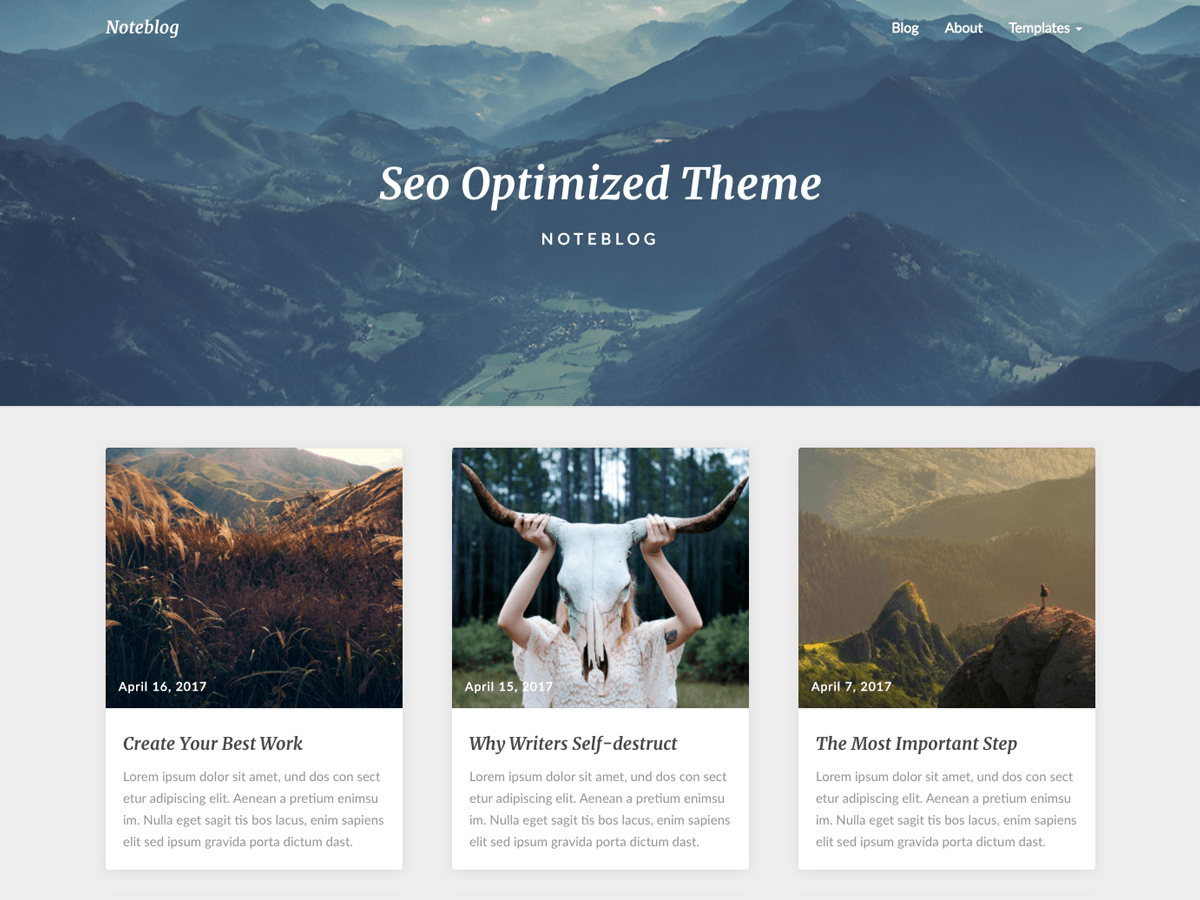 Noteblog - дизайн для сайта на WordPress