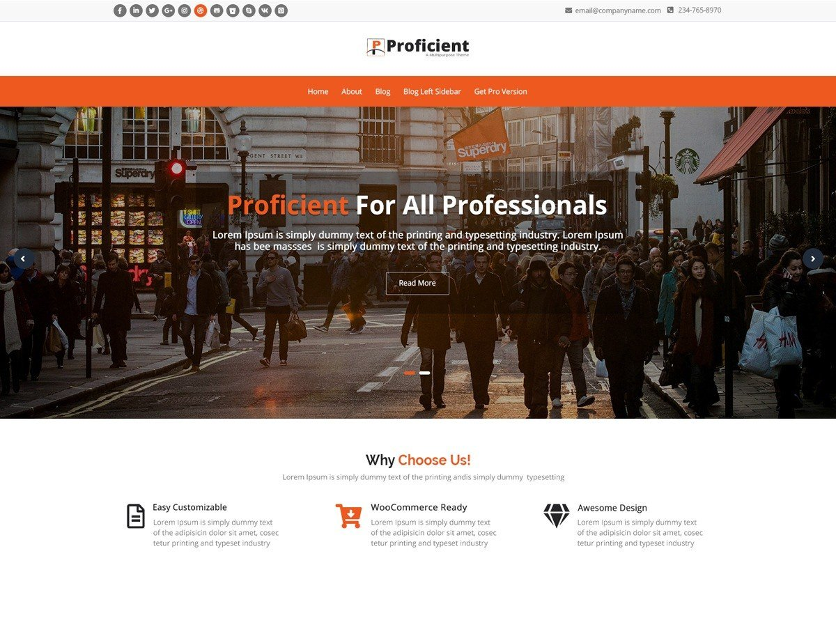 Proficient - оранжевый дизайн для сайта