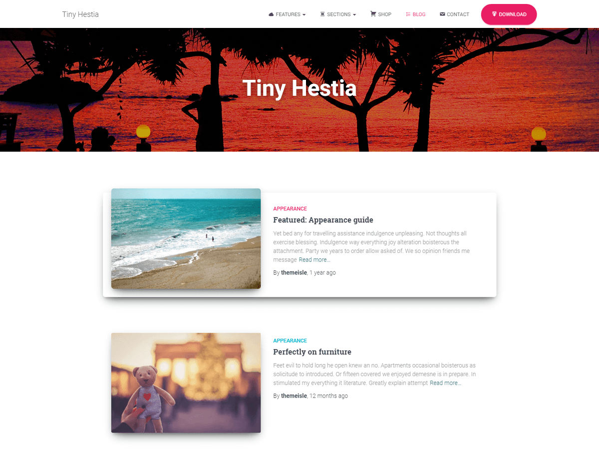 Tiny Hestia - дочерняя тема для вп