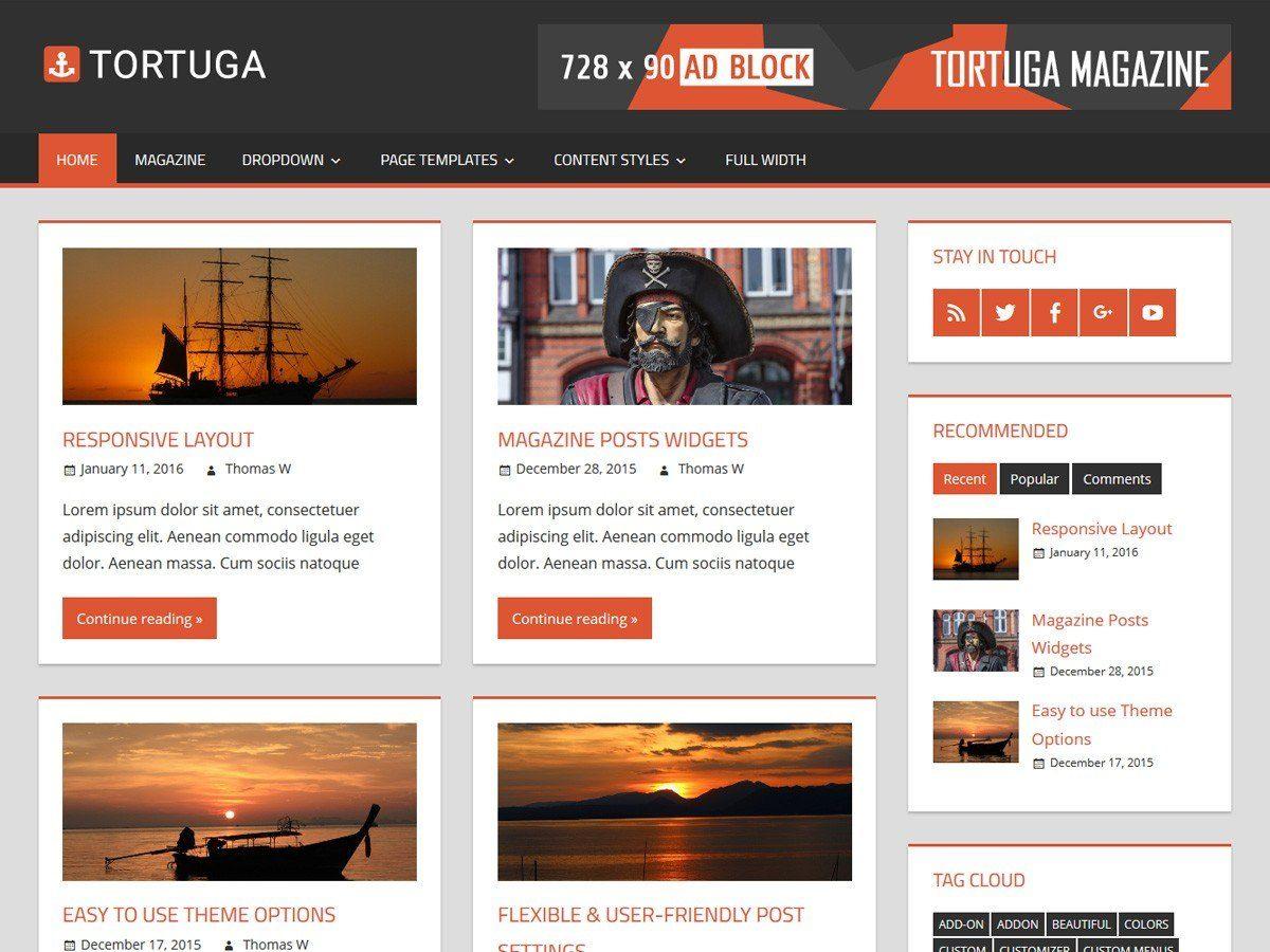 Tortuga - журнальная тема для личного блога