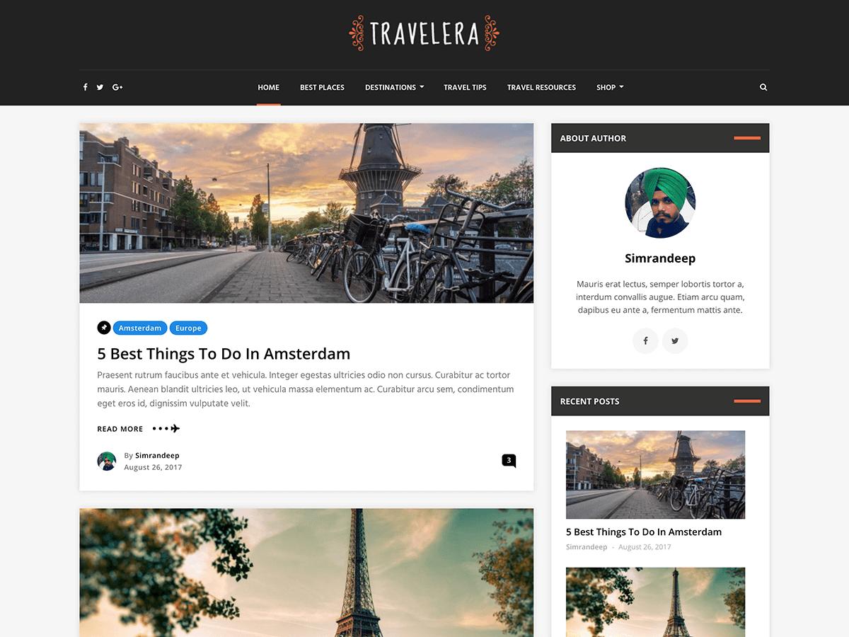 Travelera Lite - шаблон для блога про путешествия