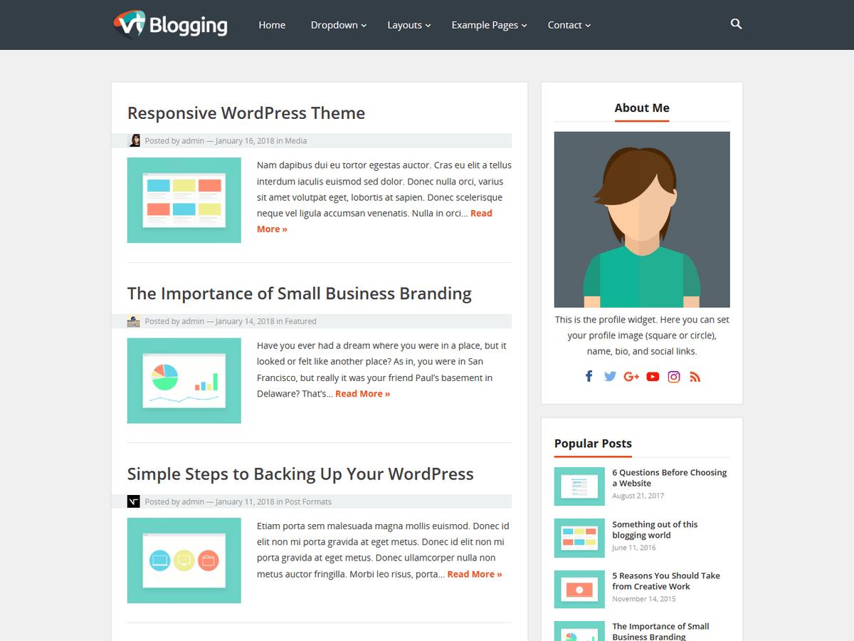 VT Blogging - шаблон личного блога вп