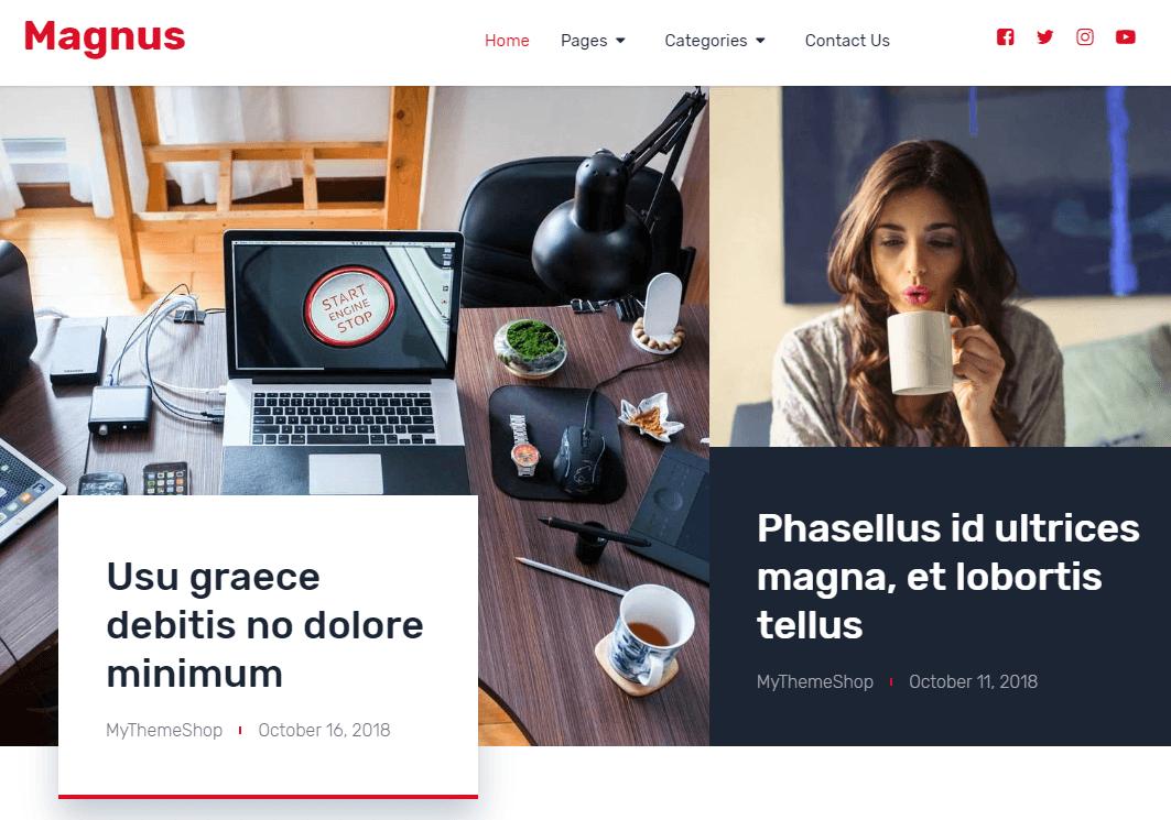 Magnus - журнальный шаблон для WordPress
