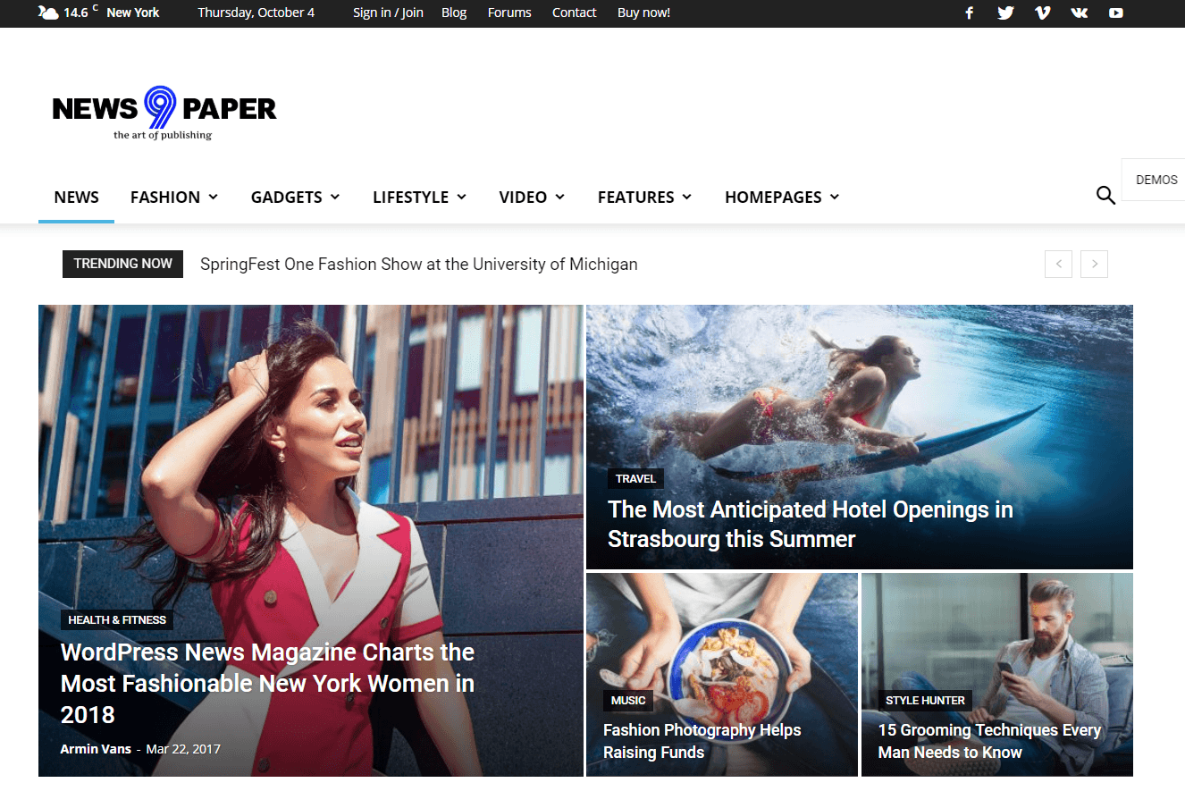 Newspaper - удобная тема для блога на WordPress