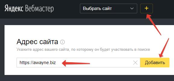 Указываем адрес сайта, который будет участвовать в поиске