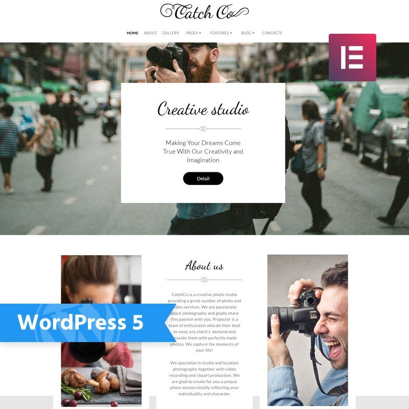 WordPress шаблон Catch Co - Photo Studio Multipurpose Creative Elementor