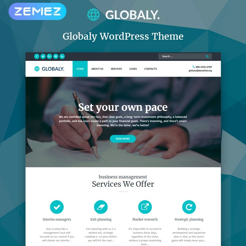 WordPress шаблон Globaly - Business Multipurpose Modern Elementor