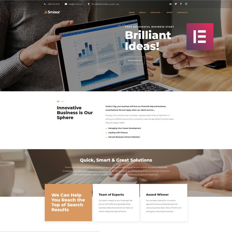 WordPress шаблон Smixor - Business Multipurpose Modern Elementor