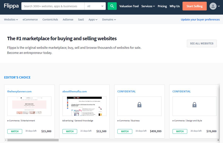 Flippa - англоязычная биржа продажи сайтов
